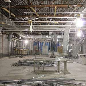Interior demolition of a parking garage